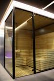 Finland bastu inom den glass kabinen på brunnsortsemesterorten Royaltyfri Foto