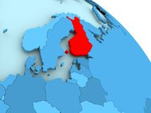 Finland on blue globe. Finland highlighted on blue 3D model of political globe. 3D illustration Royalty Free Stock Photos