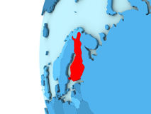 Finland on blue globe. Map of Finland on simple blue. 3D illustration Royalty Free Stock Photo