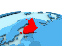 Finland on blue globe. Finland in red on simple blue political globe. 3D illustration Stock Images
