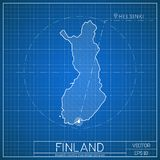 Finland blueprint map template with capital city. Helsinki marked on blueprint Finnish map. Vector illustration Royalty Free Stock Images