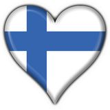 Finland button flag heart shape. Finland button flag 3d made Royalty Free Stock Photography