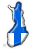 Finland button flag map shape. Finland button flag 3d made Stock Image