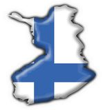 Finland button flag map shape. Finland button flag 3d made Royalty Free Stock Images