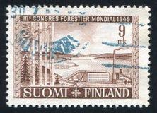 Lake Saimaa. FINLAND - CIRCA 1949: stamp printed by Finland, shows Cellulose Factory at Lake Saimaa, circa 1949 royalty free stock image
