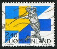 Javelin Thrower Seppo Raty. FINLAND - CIRCA 1994: stamp printed by Finland, shows Javelin Thrower Seppo Raty, circa 1994 Royalty Free Stock Images