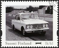 FINLAND - 2013: shows Moskvitsh Elite, series Finland Official Vintage Police Car Stock Photography