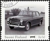 FINLAND - 2013: shows Peugeot 403, series Finland Official Vintage Police Car Royalty Free Stock Image