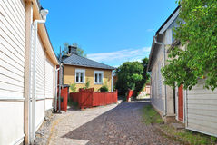 Finland. Cozy street of old Porvoo Stock Image
