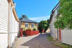 Finland. Cozy street of old Porvoo Stock Image