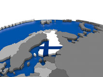 Finland on 3D globe. Map of Finland with embedded flag on globe. 3D illustration Stock Images