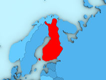 Finland on 3D map. Country of Finland highlighted in red on blue map. 3D illustration Royalty Free Stock Images