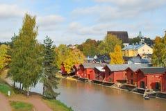 finland De herfst in Porvoo Stock Afbeelding