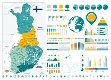 Finland Detailed Map and Infographics design elements. Business template in flat style for presentation, booklet, website and other creative projects Royalty Free Stock Photos