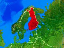Finland on Earth with borders. Finland from space on model of planet Earth with country borders and very detailed planet surface. 3D illustration. Elements of stock photo