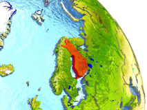Finland on Earth in red. Finland in red with surrounding region. 3D illustration with highly detailed realistic planet surface. Elements of this image furnished Stock Photos