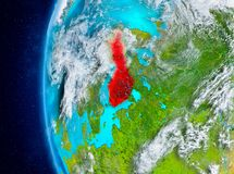Finland on Earth from space. Map of Finland as seen from space on planet Earth with clouds and atmosphere. 3D illustration. Elements of this image furnished by Stock Photography