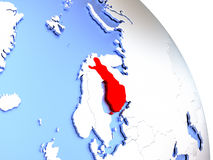 Finland on elegant globe. Map of Finland on elegant shiny globe. 3D illustration Royalty Free Stock Photo