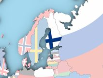Map of Finland with flag on globe. Finland with embedded flag. 3D illustration Stock Photos