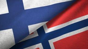 Finland en Noorwegen twee vlaggen textieldoek, stoffentextuur royalty-vrije illustratie