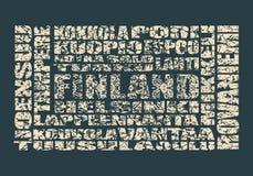 Finland etikettsmoln Royaltyfria Foton