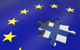 Finland and EU. 3d illustration. Puzzle piece with Finland flag Stock Image