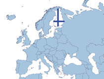 Finland on Europe map. In flags color Stock Photography