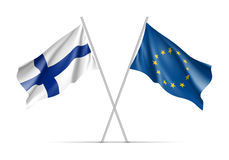 Finland and European Union waving flags. On flagpole. EU sign with twelve gold stars on blue and Finland national symbol. Two flags isolated on white background Royalty Free Stock Photography