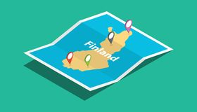 Finland explore maps with isometric style and pin location tag on top. Illustration Stock Images