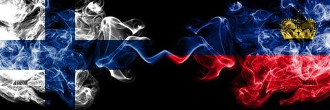 Finland, Finnish, Liechtenstein, flip competition thick colorful smoky flags. European football qualifications games. Finland Finnish, Liechtenstein, flip vector illustration