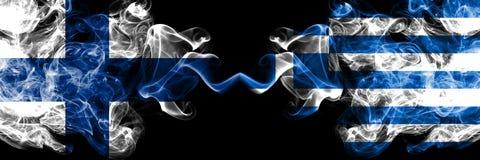 Finland finska, Grekland, tjocka f?rgrika r?kiga flaggor f?r grekisk konkurrens Europeiska fotbollkvalifikationlekar vektor illustrationer