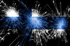Finland fireworks sparkling flag. New Year, Christmas and National day concept.  royalty free illustration