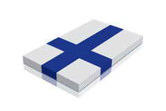 Finland Flag. 3d Render with reflection vector illustration