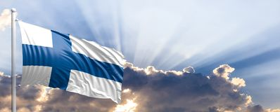 Finland flag on blue sky. 3d illustration. Finland waving flag on blue sky. 3d illustration Royalty Free Stock Photography