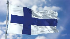 Finland Flag in a Blue Sky. Use this clip loud and proud to express loyalty and love to our country. It is a seamless loop with luma channel Royalty Free Stock Photography