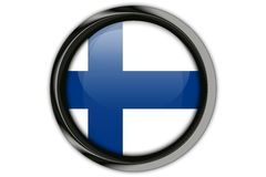 Finland flag in the button pin Isolated on White Background Royalty Free Stock Photos