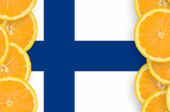 Finland flag in citrus fruit slices vertical frame. Finland flag in vertical frame of orange citrus fruit slices. Concept of growing as well as import and export stock illustration