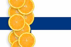 Finland flag and citrus fruit slices vertical row. Finland flag and vertical row of orange citrus fruit slices. Concept of growing as well as import and export stock illustration