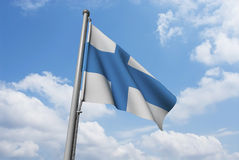 Finland Flag with Clouds Stock Images
