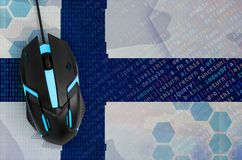 Finland flag and computer mouse. Digital threat, illegal actions on the Internet. Finland flag and modern backlit computer mouse. The concept of digital threat royalty free stock photo