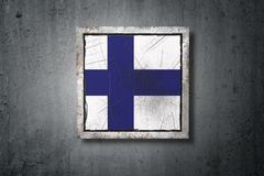 Finland flag in concrete wall. 3d rendering of an old Finland flag in a concrete wall Royalty Free Stock Image