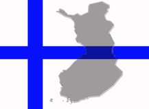 Finland flag and country map Stock Photos