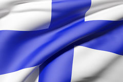 Finland flag. 3d rendering of a Finland flag Royalty Free Stock Photos