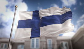 Finland Flag 3D Rendering on Blue Sky Building Background. Digital Art Royalty Free Stock Photography