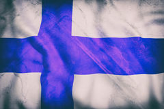 Finland flag. 3d rendering of an old Finland flag waving Stock Photo