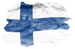 Finland flag is depicted in liquid watercolor style isolated on white background. Careless paint shading with image of national flag. Independence Day banner royalty free stock images