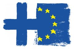 Finland Flag & European Union Flag Vector Hand Painted with Rounded Brush. This image is a vector illustration and can be scaled to any size without loss of Stock Photo