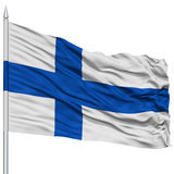 Finland Flag on Flagpole. Flying in the Wind, Isolated on White Background Royalty Free Stock Image