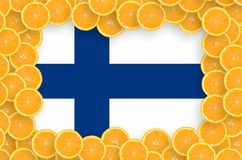 Finland flag in fresh citrus fruit slices frame. Finland flag in frame of orange citrus fruit slices. Concept of growing as well as import and export of citrus royalty free illustration