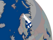 Finland with flag on globe Stock Image